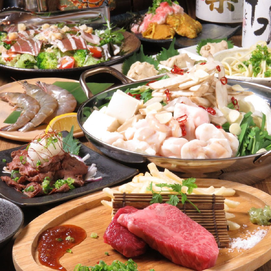 【お腹いっぱい。。】選べる一品♪ 黒毛和牛ステーキも!!贅沢もつ鍋コース